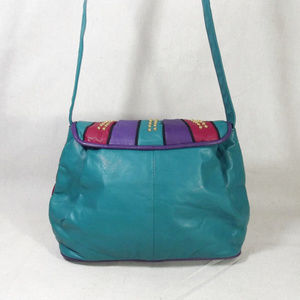 e979f4ac4e Vintage Bags - VINTAGE 80s Colorful Leather Shoulder Bag Purse